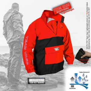 the new Vass red and black smock